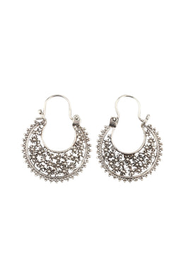 Floral Filigree Inner Point Edge Silver Hoop Earrings