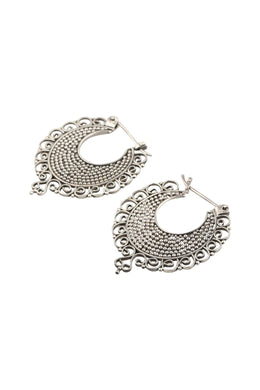 Dotted Swirl Edge Silver Hoop Earrings