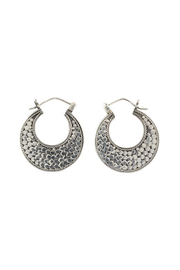High Shine Flat Dot Silver Hoop Earrings