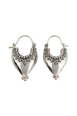Tribal Dotted Point Silver Hoop Earrings