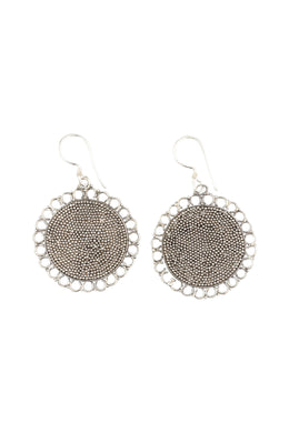 Scallop Edge Dotted Disc Silver Earrings