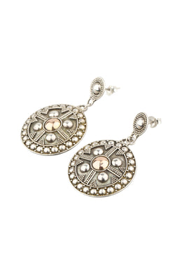 Round Dome Shield Silver Earrings with Gold Plating