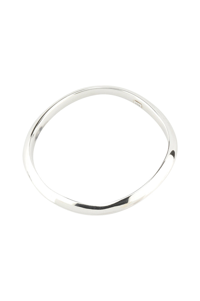 Simple Domed Wavy Silver Bangle Bracelet