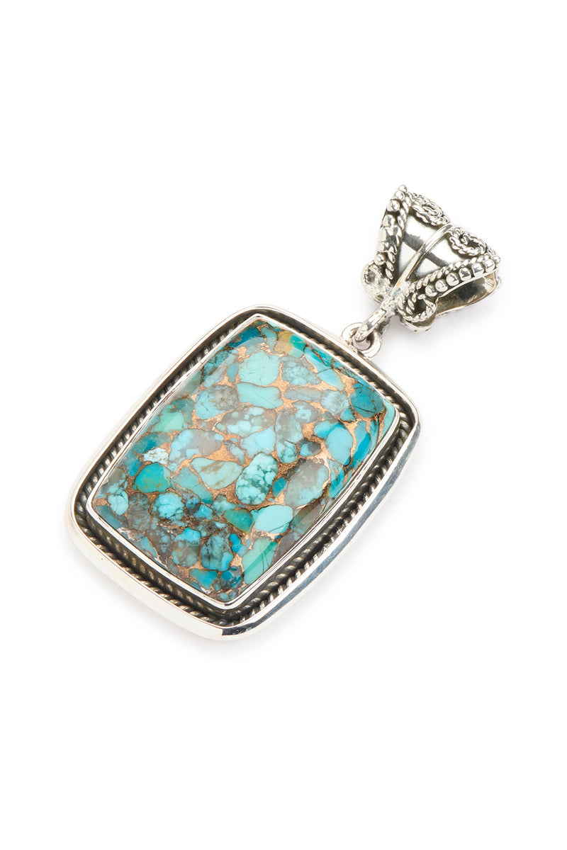 Statement Copper & Blue Turquoise Rectangle Silver Pendant