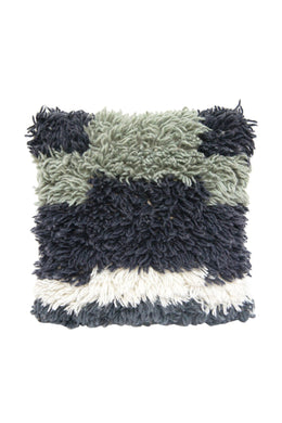 Saha Grey-Blue Shaggy Cushion