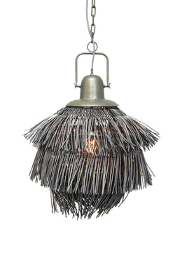 Grey Layered Rattan Pendant Lamp Shade