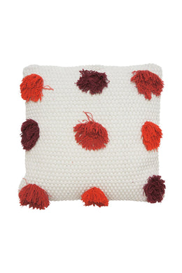 Red Tufted Cream Cushion