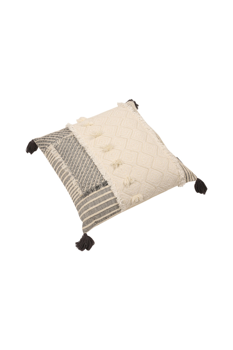 White Citra Patchwork and Tassels Cushion