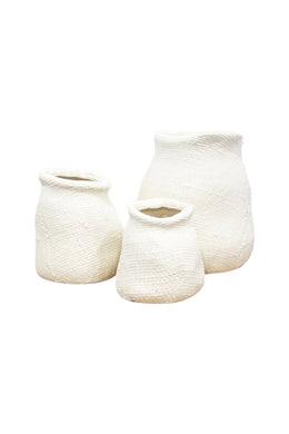 Midsize Matte White Hessian Ceramic Vase
