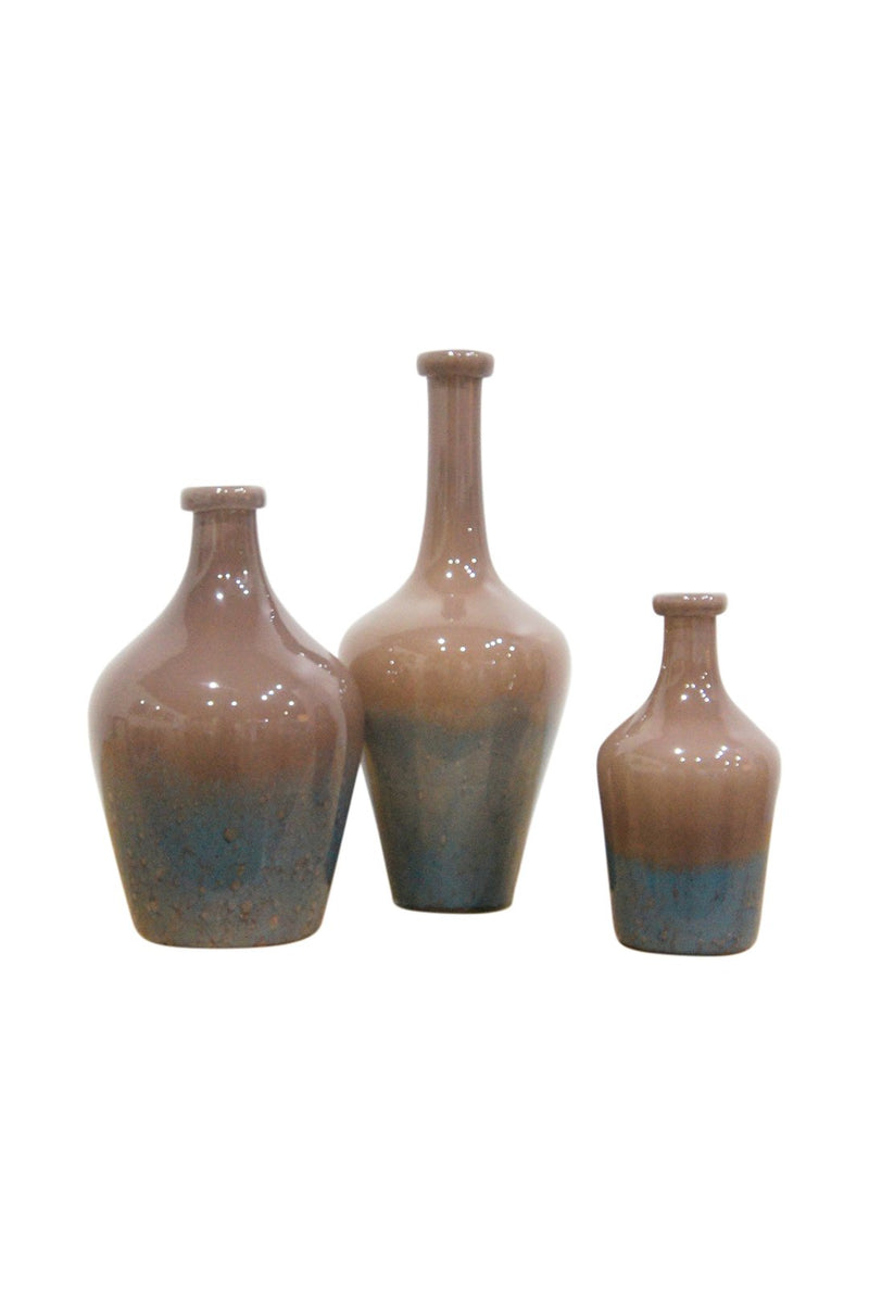 Small Rush Glass Mottle Brown Vase