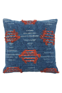 Noida Rust & Blue Cushion