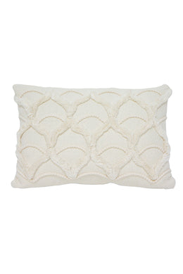 White Petal Embroidered Cushion