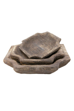 Dark Wash Octagonal Bowl Set of 3