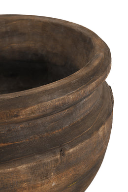 Rustic Dark Wash Wooden Bowl - Large