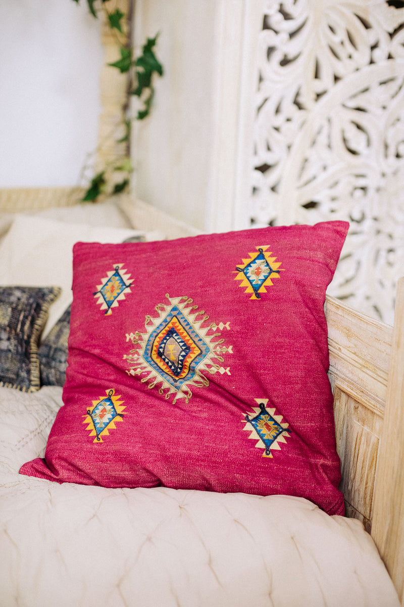Embroidered Ruby Cushion - Large