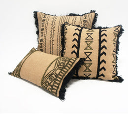Embroidered Black & Cream Raana Cushion
