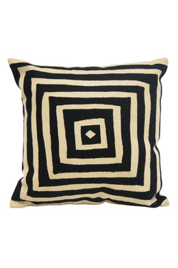 Black & Ecru Embroidered Square Cushion