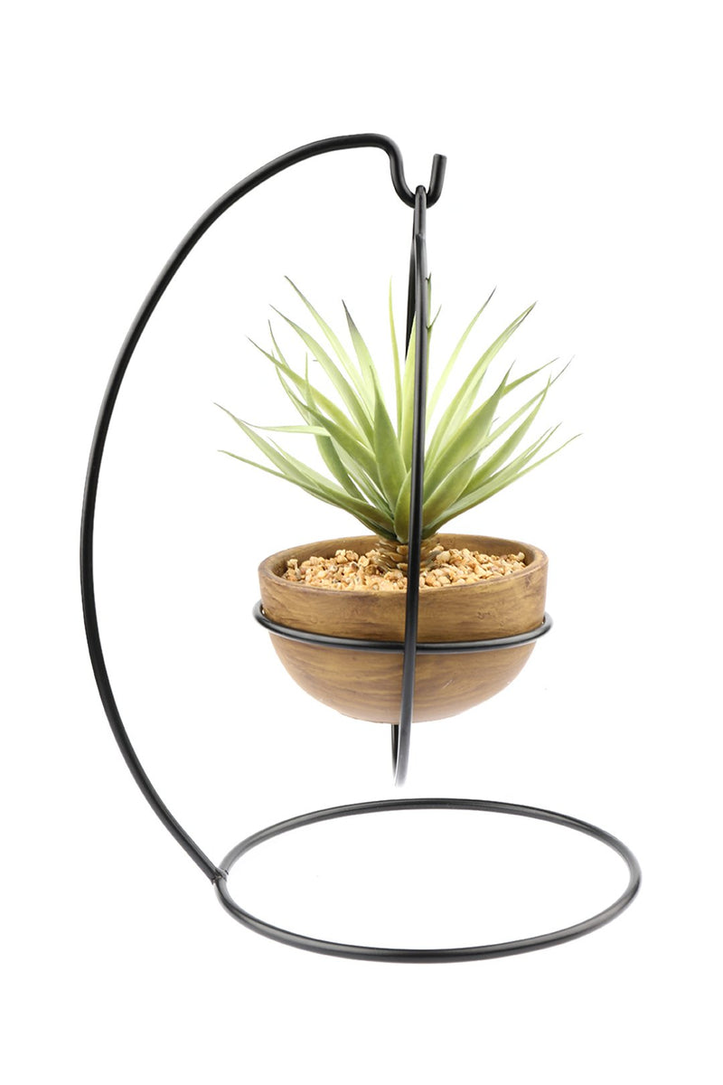 Artificial Sword Grass Iron Held Plant Pot