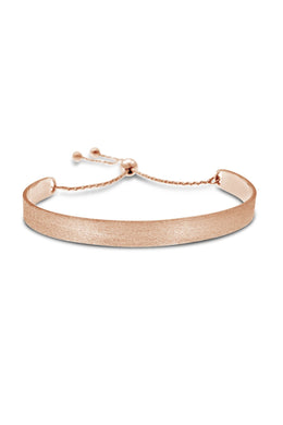 Brushed Rose Gold Silver Lariat Bracelet