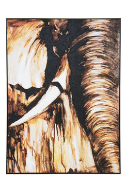 Tusk Canvas Art With Oil detail - Black Frame