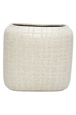 Off White Grid Ceramic Vase