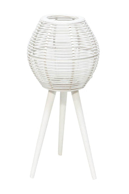 White Bamboo Lantern on Stand