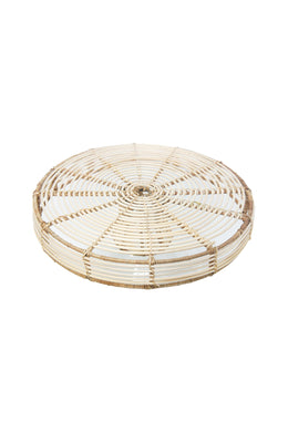 Bali Glass & Rattan Side Table