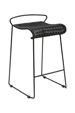 Dark Woven Outdoor Bar Stool