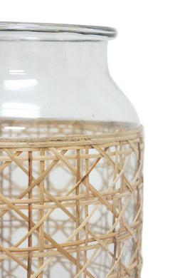 Tang Glass Lantern with Cane Weave - Tall