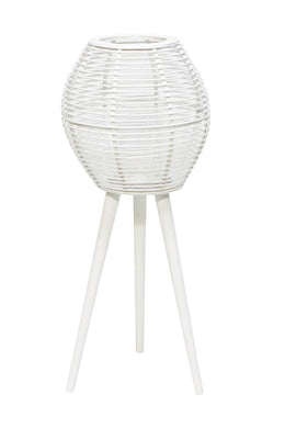 White Bamboo Lantern on Tall Stand