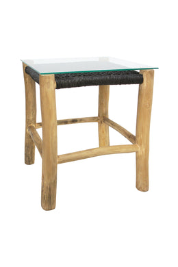 Accent Square Side Table with Glass Top