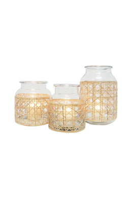 Tang Glass Lantern with Cane Weave - Small