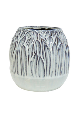 Small Off White Reed Ceramic Vase