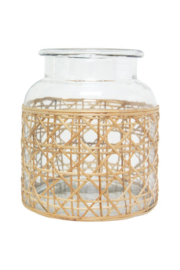 Tang Glass Lantern with Cane Weave - Medium