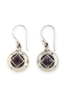 Amethyst Square Circle Droplet Silver Earrings
