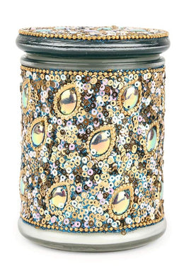 Aqua Gold Peacock Candle