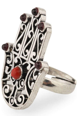 Assorted Stone Hamsa Hand Ring
