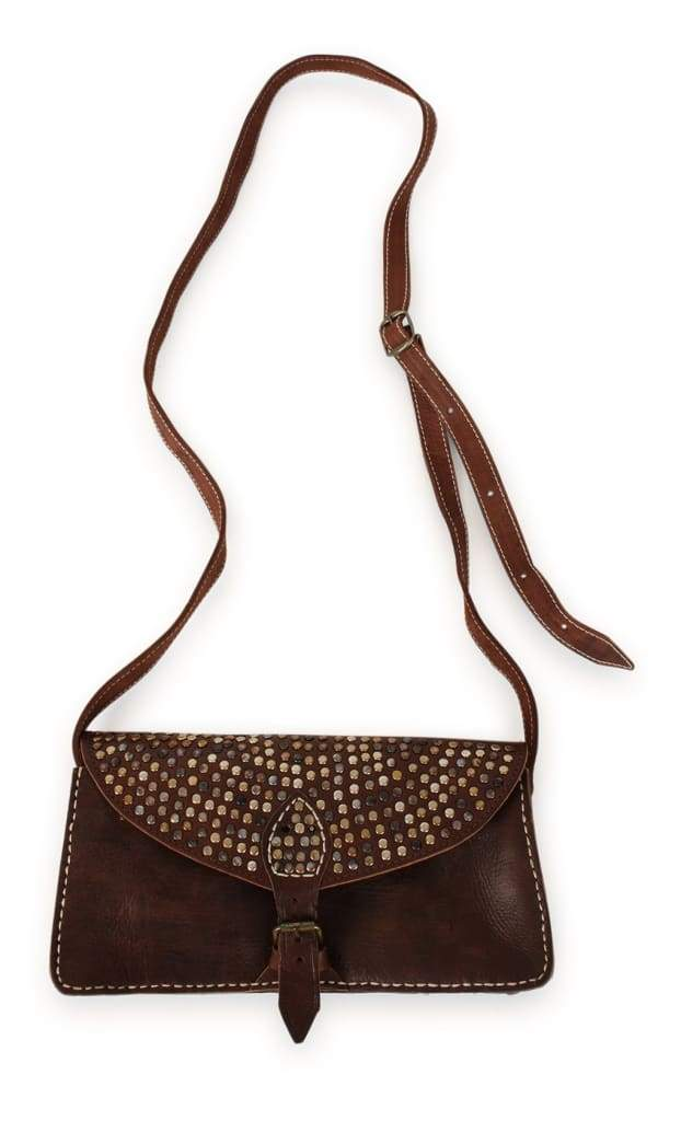 Bag Clutch Leather Rectangle Stud Flap Brown 29X14Cm