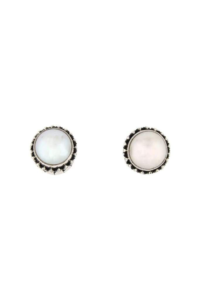 Balinese Dot Silver Pearl Earrings