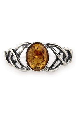 Baltic Amber Celtic Wrap Ring