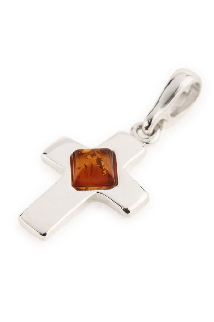Baltic Amber Wide Cross Pendant