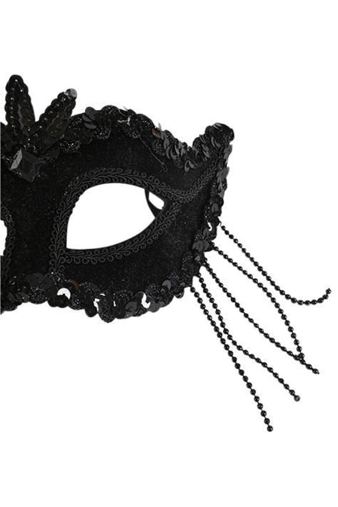 Beaded Black Mask