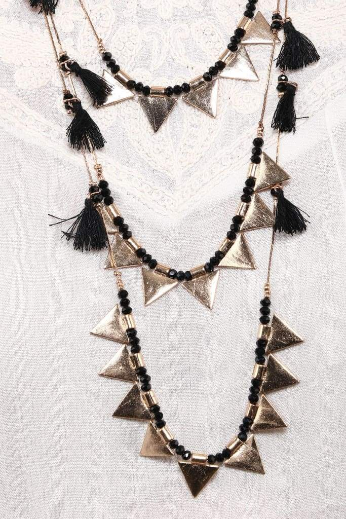 Black & Gold Triangles Necklace