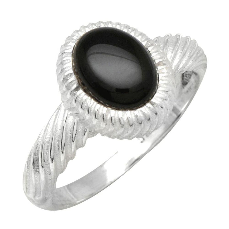 Black Onyx Twisted Band Ring