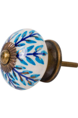 Blue Leaves Ceramic Knob
