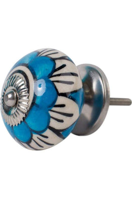 Blue & White Flower Ceramic Knob