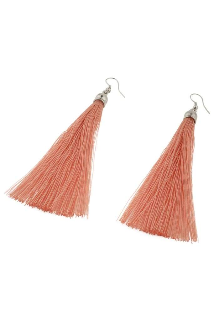 Blush Capped Tassel Earrings