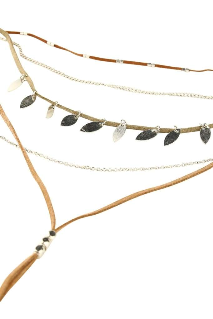 Boho Layered Suede & Chains Necklace