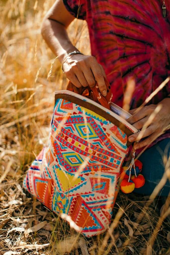 Bright Multicolour Aztec Clutch