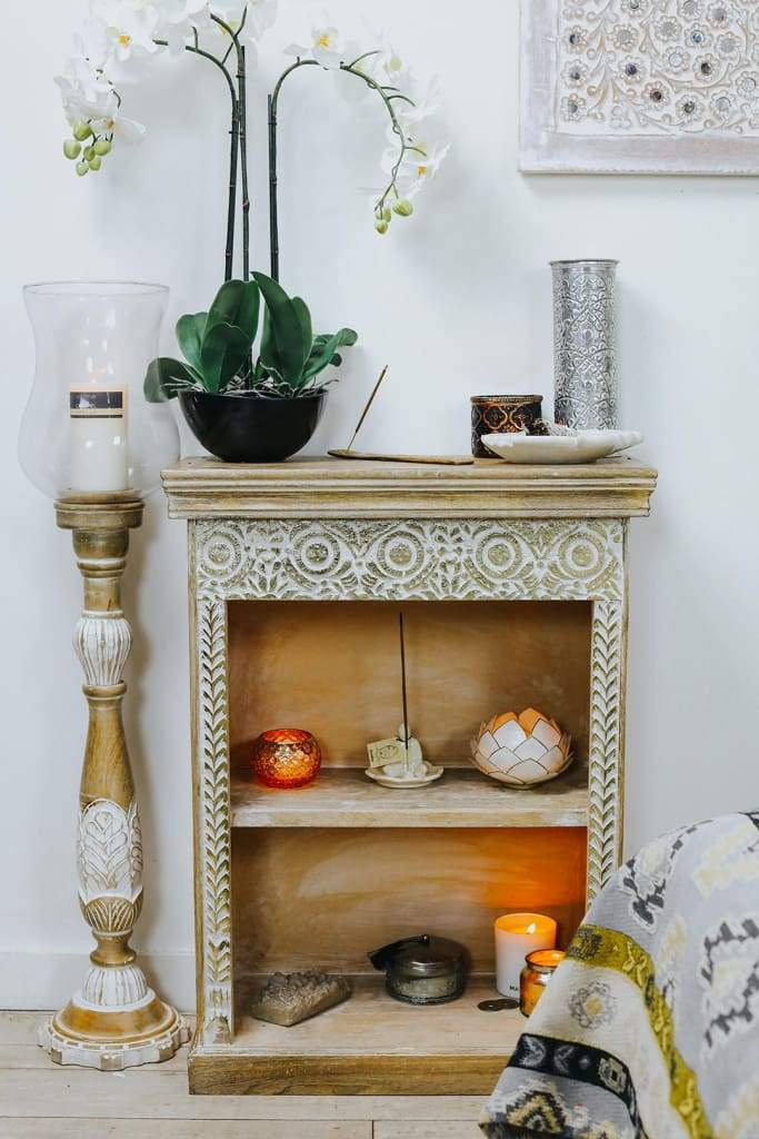 Carved Bedside Shelf